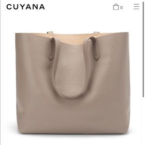 EUC Cuyana Classic Structured Leather Tote (Stone)